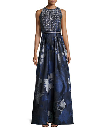 Embellished Floral-Print Gown, Midnight