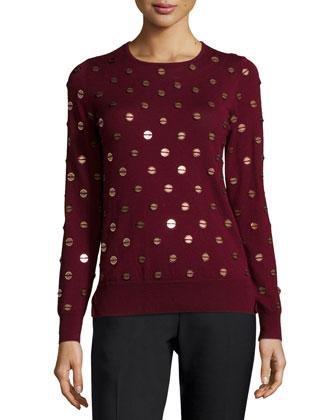 Embellished Wool Crewneck Sweater