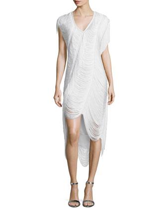Beloved Louise Scalloped-Fringe Dress, Swan