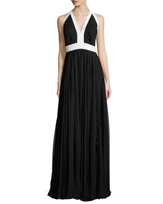Halter-Neck Sunray-Pleated Gown, Ivory/Black