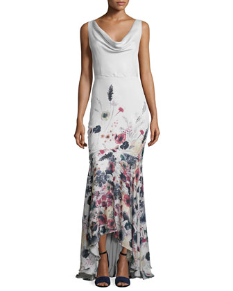 Sleeveless Cowl-Neck Floral-Print Gown, Anti Ivy/Multi