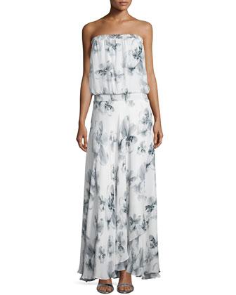 Strapless Floral-Print Maxi Dress, Swan/Multi