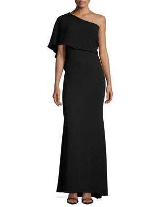 One-Shoulder Capelet Gown, Black