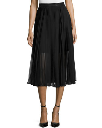 Chiffon Pleated Midi Skirt, Black