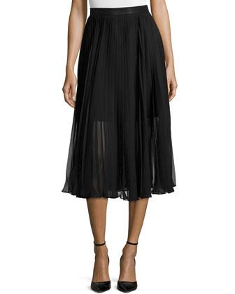 Chiffon Pleated Midi Skirt, Black