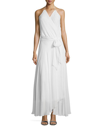 Halter-Neck Belted Wrap Dress, Swan