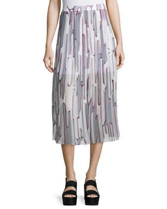 Abstract Cactus Pleated Georgette Skirt, Steel Gray