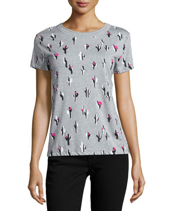 Cactus-Print Jersey T-Shirt, Pale Gray