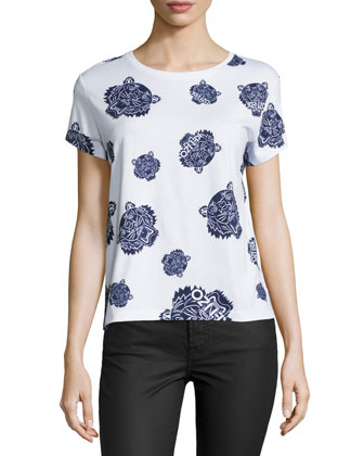 Allover Tiger-Print T-Shirt, White/Blue