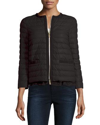Ombrine Puffer Jacket with Flounce Hem