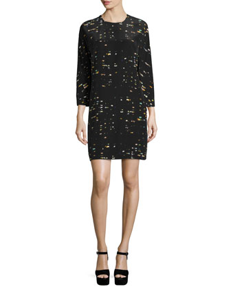 Long-Sleeve Jewel-Neck Shift Dress, Windows Black/Multi
