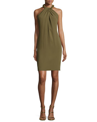 Halter Beaded-Neck Cocktail Dress, Olive