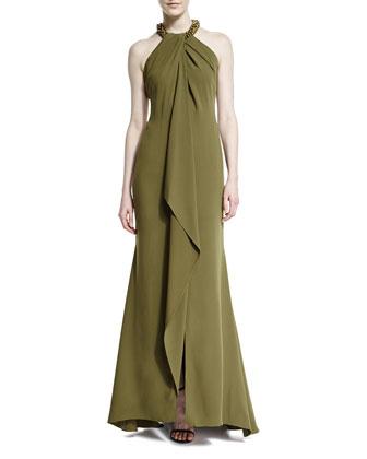 Sleeveless Embellished-Neck Gown, Olive/Burn Gold