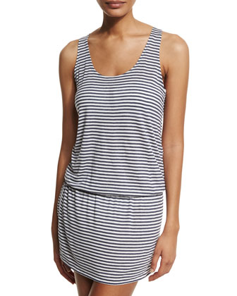 Striped Sleeveless Coverup Dress