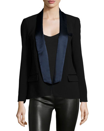 Relaxed-Fit Two-Tone Blazer, Black/Dark Midnight