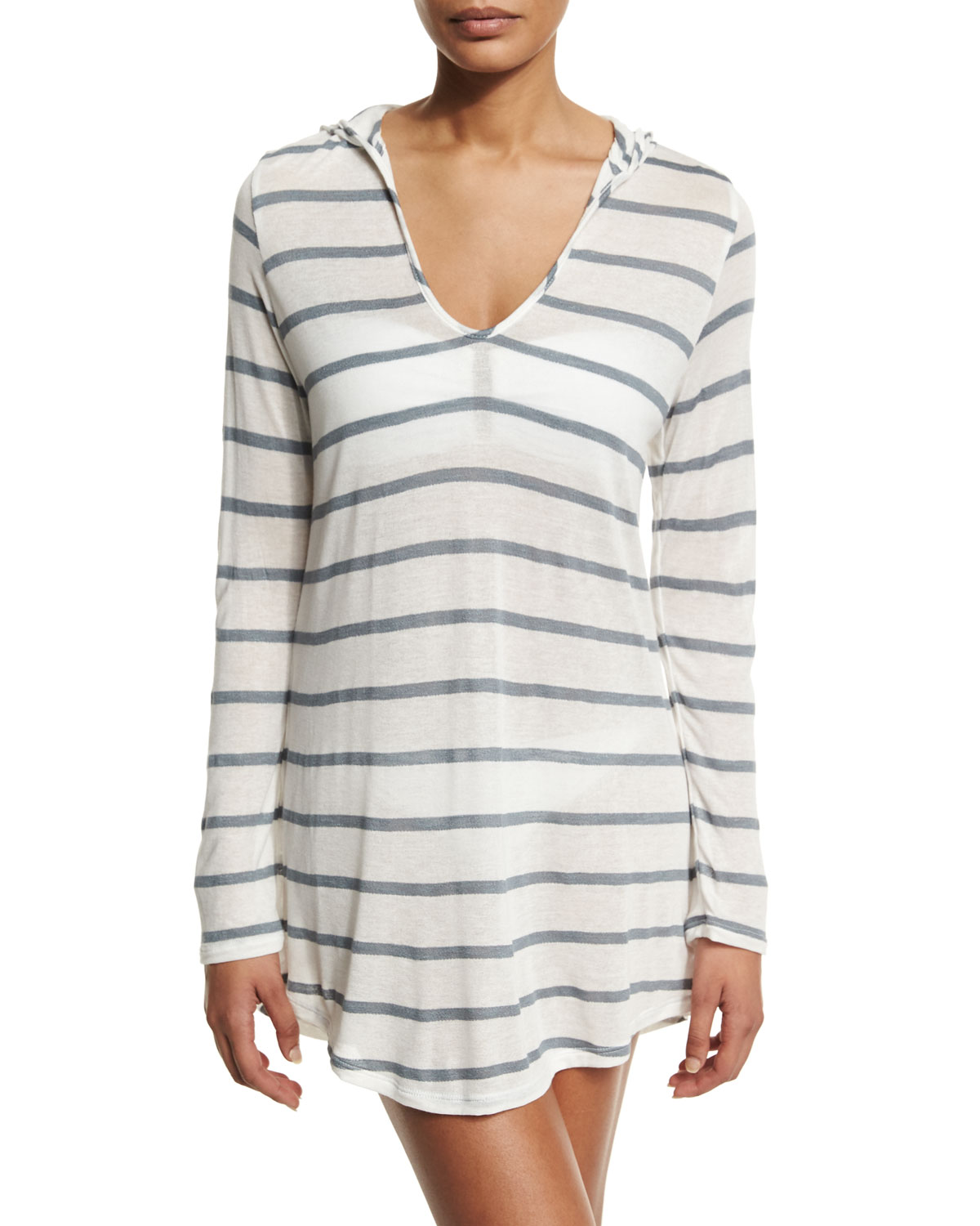 Striped Long-Sleeve Hooded Tunic Coverup, Size: LARGE/12, Gray - Splendid