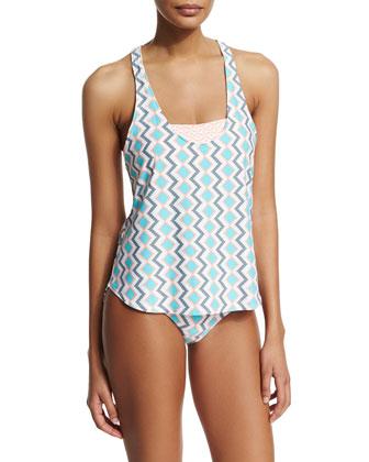 Printed Two-Part Tankini Swim Top