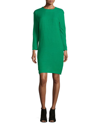 Long-Sleeve Shift Dress, Green