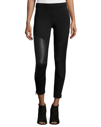 Ponte Combo Ankle Leggings, Black
