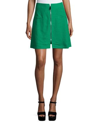 Zip-Front A-Line Skirt, Green Custom Blend