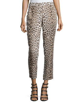 Leopard-Print Cropped Pants, Buff/Black