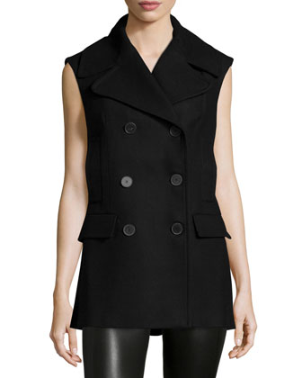 Double-Breasted Slim-Fit Vest, Dark Navy