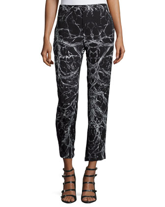 Mid-Rise Cropped Trousers, Black/Swan