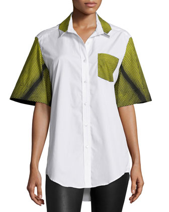 Flared-Sleeve Button-Front Top, Popline White/Curtain