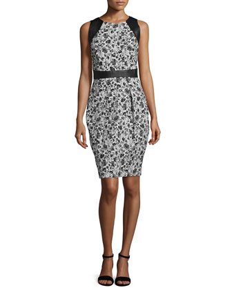 Sleeveless Leather-Trim Floral Cocktail Dress