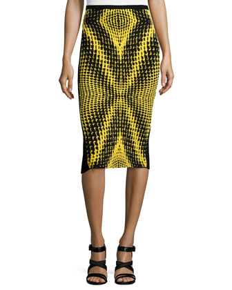 Printed-Front Pencil Skirt, Yellow