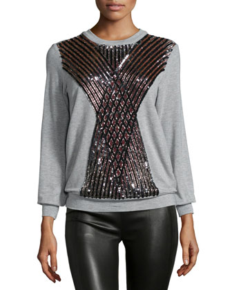 Embellished Crisscross Pullover, Light Heather Gray