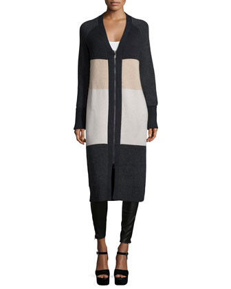 Long Zip-Front Colorblock Cardigan