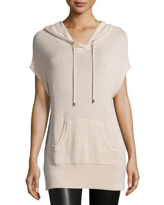 Hooded Short-Sleeve Pullover, Cream