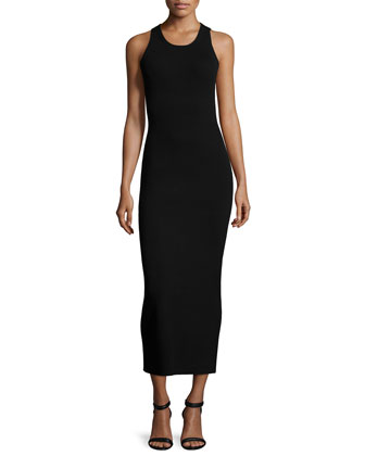 Sleeveless Maxi Sweater Dress, Black