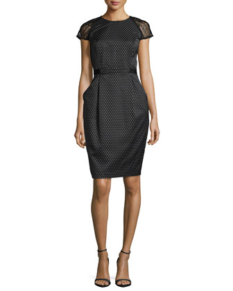 Cap-Sleeve Swiss-Dot Sheath Dress, Black