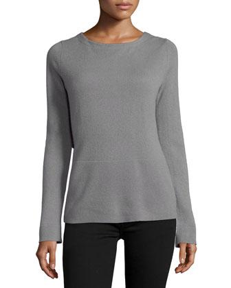 Draped-Back Cashmere Sweater, Gravel