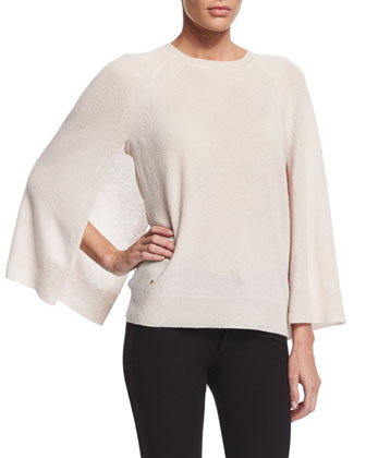 Cashmere Cape-Sleeve Sweater, Dark Bone
