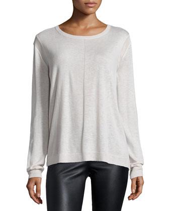 Long-Sleeve Drape-Back Sweater, Dark Bone