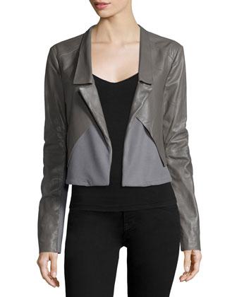 Long-Sleeve Open-Front Combo Jacket, Charcoal