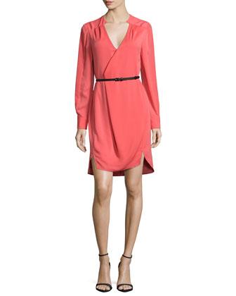 Long-Sleeve Belted Wrap Dress, Melon