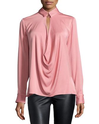 Long-Sleeve Draped-Front Blouse, Tea Rose