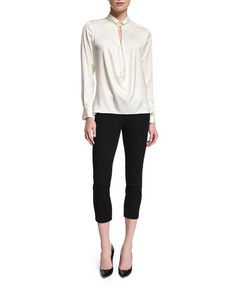 Long-Sleeve Draped-Front Blouse, Linen White