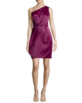 One-Shoulder Pleated Dress, Boysenberry