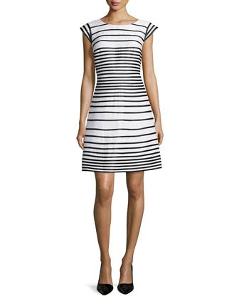 Cap-Sleeve Striped Dress, Chalk/Black