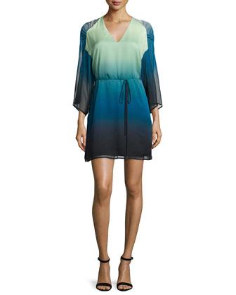 Kimono-Sleeve Belted Ombre Dress, Atlantic