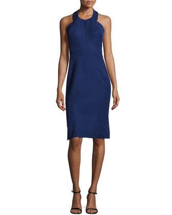 Halter-Neck Sheath Dress, Violet Blue