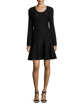 Long-Sleeve Fit-&-Flare Dress, Black