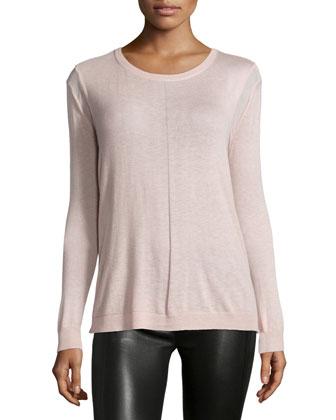Long-Sleeve Drape-Back Sweater, Powder