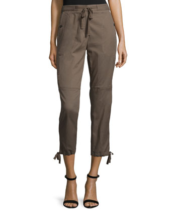 Drawstring Cropped Pants, Fatigue