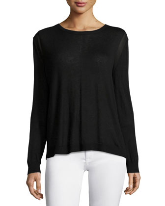 Long-Sleeve Drape-Back Sweater, Black